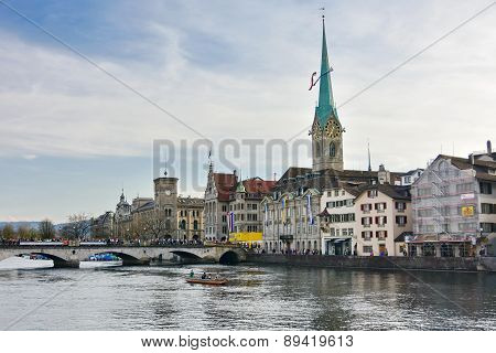 Zurich Limmat River And Historic Architecture