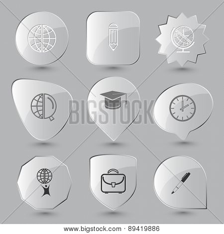 Education set. Raster glass buttons.
