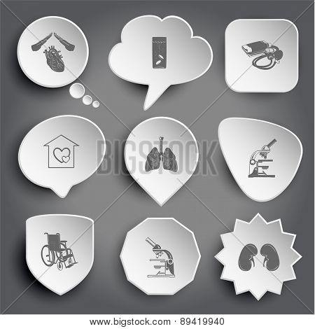 heart protect, glass with tablets, blood pressure, orphanage, lungs, lab microscope, invalid chair, kidneys. White raster buttons on gray.