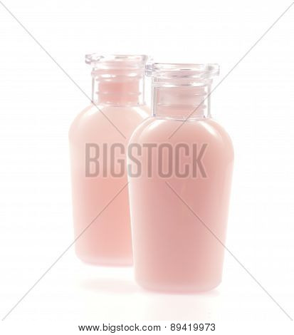 Bottle For Shampoo,liquid Cleansing Soap ,toner Face ,shower Gel And Body Lotion Isolated On White B