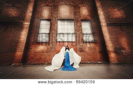 long-haired brunette in blue-white dress angel