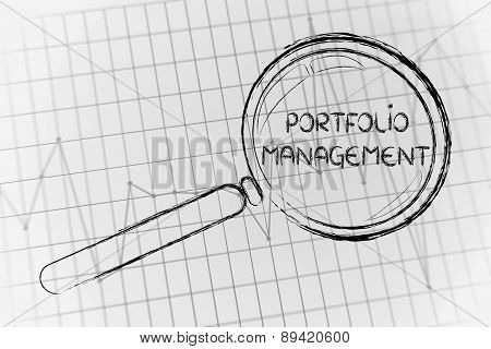 Portfolio Management, Magnifying Glass Focusing On Business Performance Graph