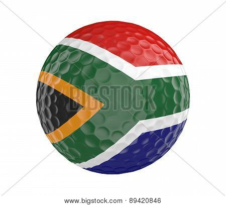 Golf ball 3D render with flag of South Africa, isolated on white