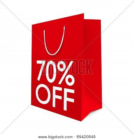 Red paper shopping bag for a 70 percent off sale