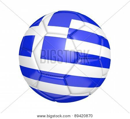 Soccer ball, or football, with the country flag of Greece
