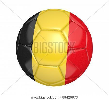 Soccer ball, or football, with the country flag of Belgium