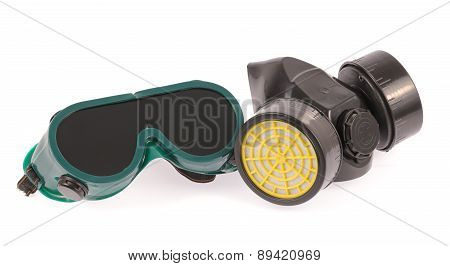 Chemical Protective Mask And Safety Glasses Isolated On White Background