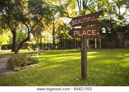 Wooden Garden Sign Reading