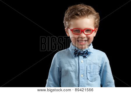 Blonde Boy In Red Glasses