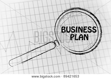 Business Plan, Magnifying Glass Focusing On Business Performance Graph