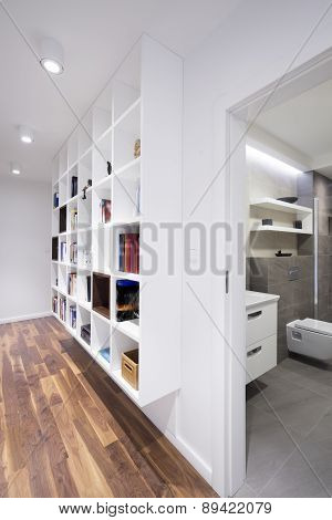 Bookcase In Modern Interior