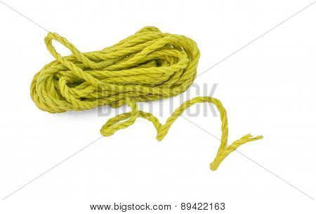 The green yellow rope in the coil