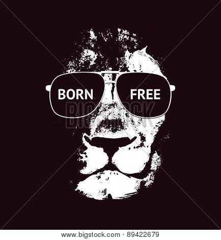 Lion head. Hand drawn. Vector background. Vector illustration