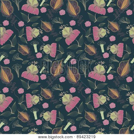 Seamless Pattern From Abstract Flowers.