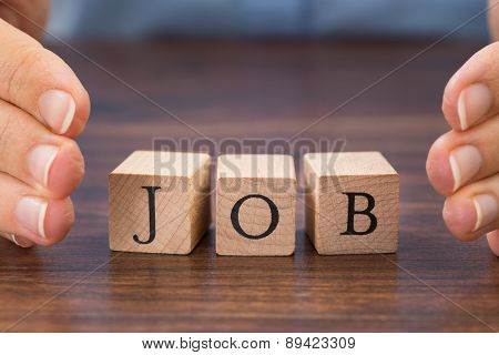 Person Hand Saving The Word Job
