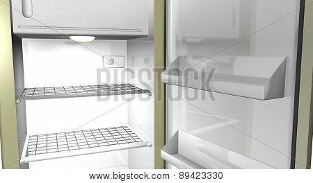 Illustration of a shiny refrigerator interior