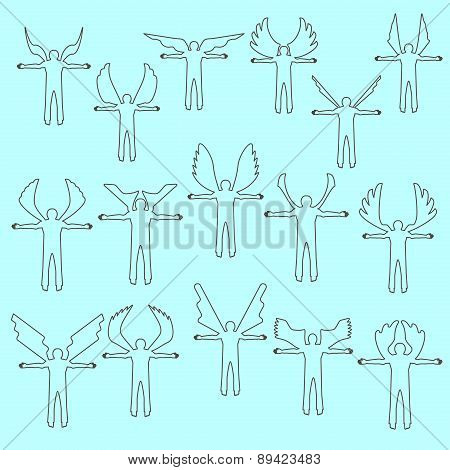 Angel figures  linear icon set.  Different wing styles.  Editable and design suitable vector illustr