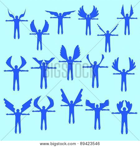 Angels  silhouette icon set.  Different wing styles.  Editable and design suitable vector illustrati