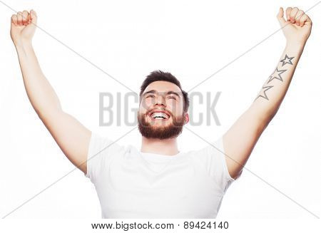 life style and people concept: young bearded man showing hand up over white background.
