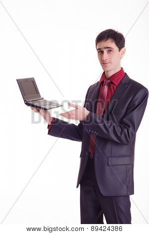 Studio shot of young business man, isolated on white