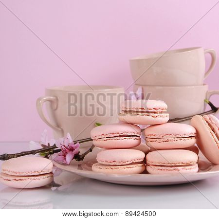 Pink Macaron Cookies With Vintage Cups