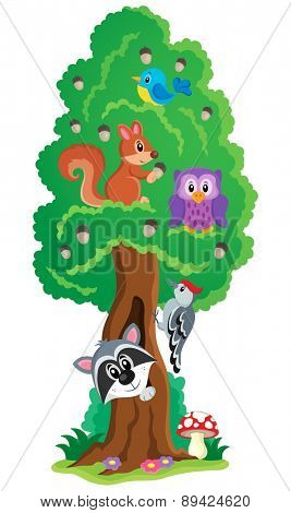 Tree with various animals theme 1 - eps10 vector illustration.
