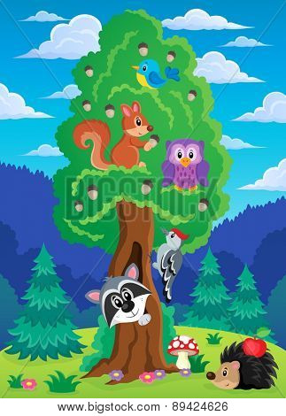 Tree with various animals theme 2 - eps10 vector illustration.