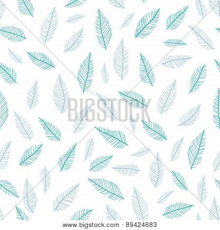 Vectgor blue green feathers pastel seamless pattern background