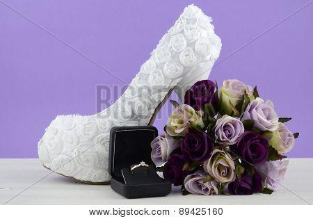 Wedding Theme White Floral Bridal Shoes