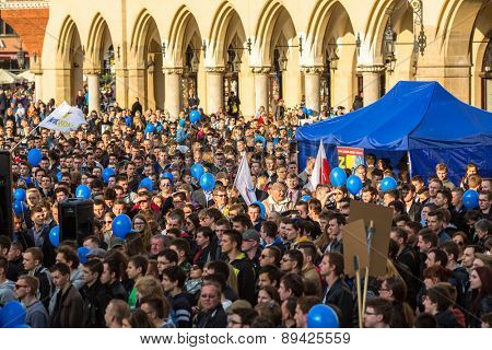 KRAKOW, POLAND - APR 29, 2015: During the rally of the presidential candidate of Poland - Janusz Korwin-Mikke - creator of a Polish liberal political party Coalition for the Renewal of the Republic.