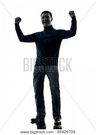 one  man happy strong victorious full length in silhouette studio isolated on white background
