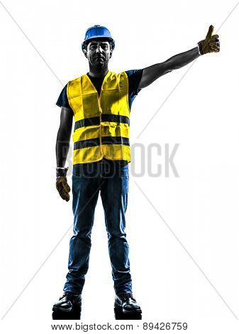 one construction worker signaling with safety vest raise boom silhouette isolated in white background