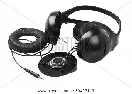 Disassembled Headphone on White Background