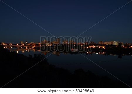 Saskatoon City And River At Night