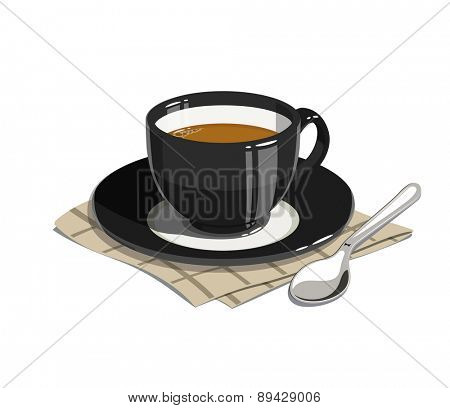 Cup of coffee. Eps10 vector illustrations. Isolated on white background