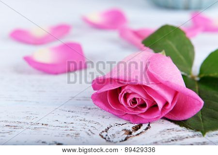 Beautiful pink rose on wooden table, closeup