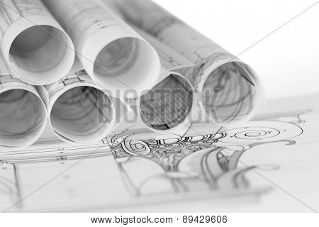rolls of architecture blueprints & details composite architectural order