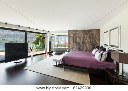 architecture, modern house, beautiful interiors, wide bedroom