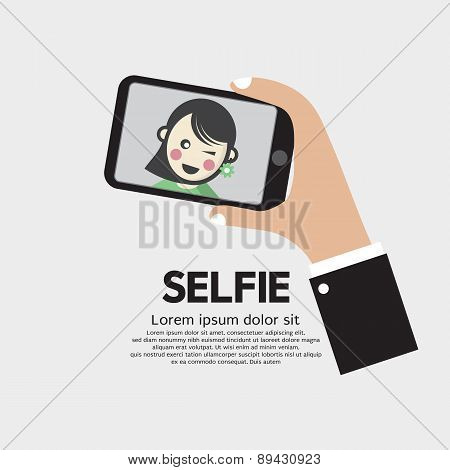 Selfie By Phone Lifestyle With Technology.