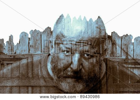 Double Exposure. Collage From The Man And Fence