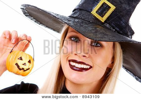 Witch With Pumpkin Candle