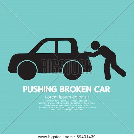 Pushing Broken Car Graphic Symbol.