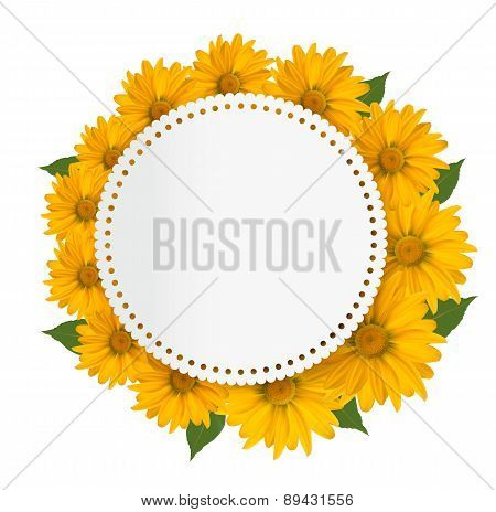 Celebration Background With Yellow Flowers. Vector.