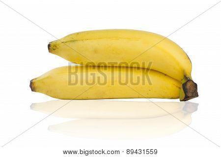 Closed Up Banana On White Background And Reflex