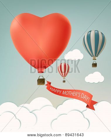 Mothers Day Over Sky Landscape Background With Air Balloons. Vector