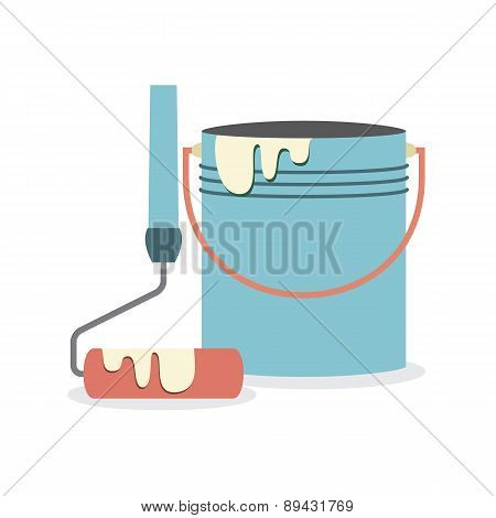 Flat Design Paint Bucket With Roller.