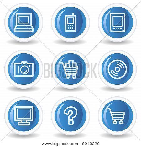 Electronics Web Icons Set 1, Blue Glossy Circle Buttons