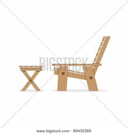 Side View Of Wooden Garden Chair And Table.