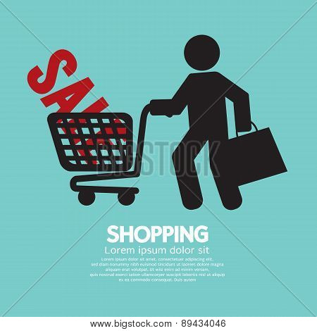 Shopper With Shopping Cart Symbol.