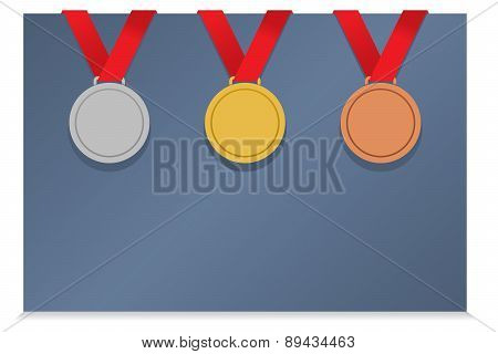 Three Medals On Blank Card.